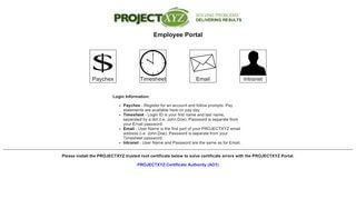 Project Xyz Employee Portal