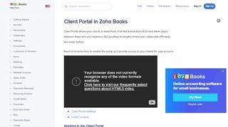 Zoho Books Customer Portal