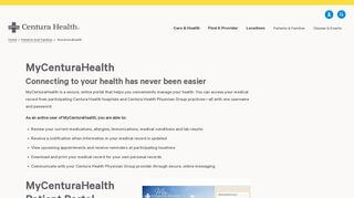 Centura Health Portal