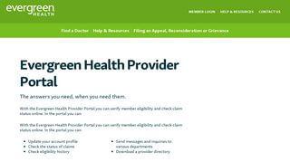 Evergreen Health Provider Portal