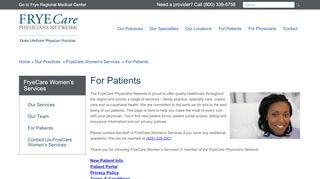 Frye Care Women's Services Patient Portal