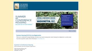 Gw Summer Housing Portal