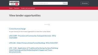 Lancashire County Council Tender Portal