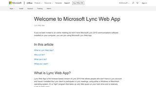Lync Web Portal