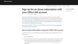 Office 365 Azure Portal