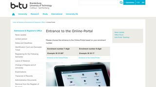 Online Portal Btu
