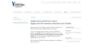 Rhine Waal University Application Portal