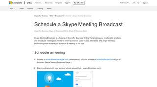 Skype Meeting Broadcast Portal
