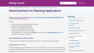 Stirling Council Planning Portal
