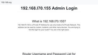 192.168 L70 Login