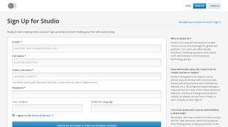 Studio Account Sign Up