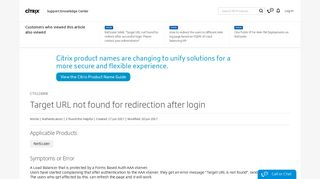 Target Url Not Found For Redirect After Successful Login