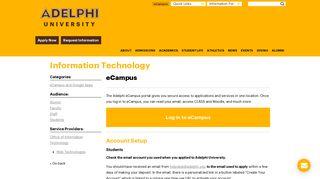 Adelphi Ecampus Portal Login