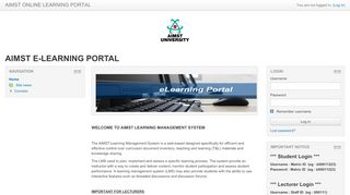 Aimst E Learning Portal