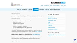 Anne Arundel Dermatology Patient Portal