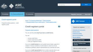 Asic Credit Licence Portal