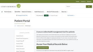 Citrus Memorial Hospital Patient Portal