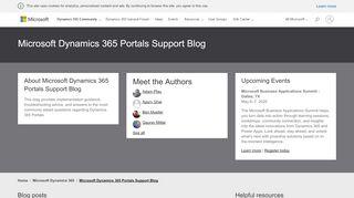 Dynamics 365 Portals Support Blog