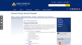 Howard County General Hospital Employee Portal
