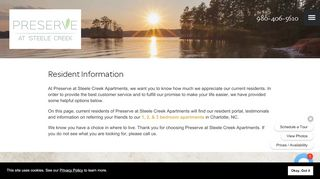 Preserve At Steele Creek Resident Portal