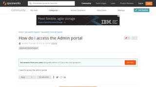 Spiceworks Admin Portal