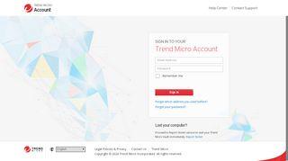 Trend Micro My Account Web Portal