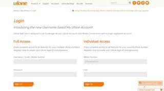 Ufone Web Portal