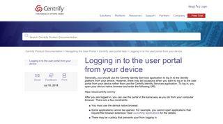 User Portal Centrify