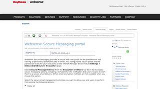 Websense Secure Message Portal