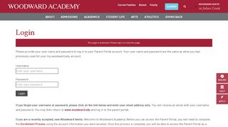 Woodward Academy Parent Portal