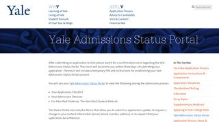 Yale Admissions Portal