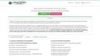 Al Hikmah University Admission Portal