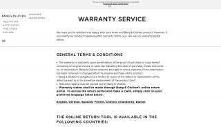Beoplay Warranty Portal
