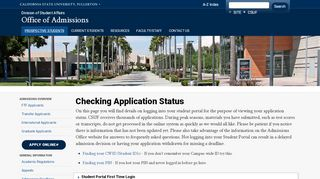 Cal State Fullerton Admissions Portal