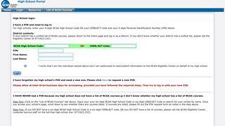 Eligibility Center High School Portal