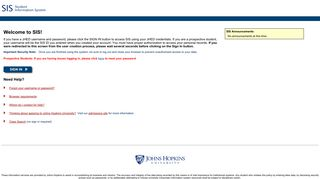 Johns Hopkins Sis Portal