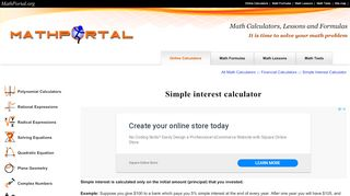 Math Portal Simple Interest