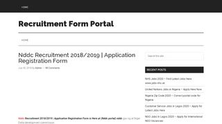 Nddc Recruitment Portal 2018