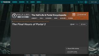 Portal 2 The Final Hours