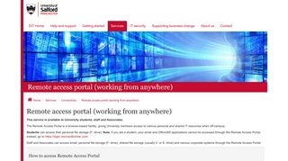 Salford University Staff Portal