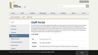 Ulster University Portal Staff