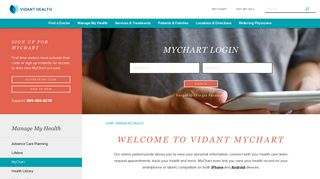 Vidant Health Patient Portal