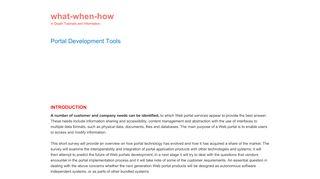 Enterprise Portal Development Tools