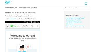 Handy Professional Portal App