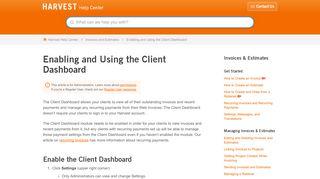 Harvest Client Portal