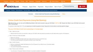 Icici Credit Card Login Payment Billdesk