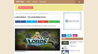 Lords Mobile Login Error 34109