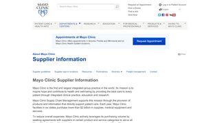 Mayo Clinic Vendor Portal