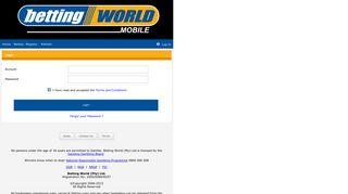 Mobile Betting World Login
