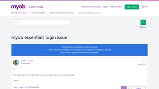 Myob Essentials Login Issues